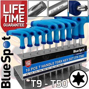 T-Handle Torx Star Key Set T9 - T50 Torx Drivers 10pc Long & Short Reach Torx TX