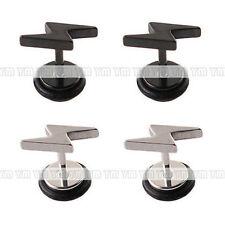 Women Men Pair Titanium steel Lightning Stud Earrings Anti Allergy Ear Stud X31E
