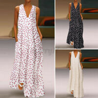 ZANZEA Womens Sleeveless V Neck Print Long Beach Dress Kaftan Loose Maxi Dresses