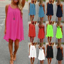 Plus Size 8-24 Women's Casual Sleeveless Evening Party Beach Short Mini Dress