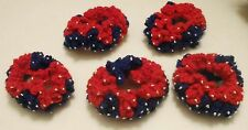 NEW LOT OF 5 HANDMADE CROCHET HAIR SCRUNCHIES SET BLUE RED DECORATED