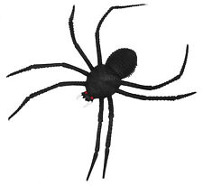 "8"" rubber black spider with long legs scary creatures Halloween decoration"