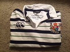 White and Blue Striped Canterbury of New Zealand Long Sleeve Rugby Shirt - Large