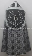 Black with White Cope & Stole Set wt IHS embroidery,capa pluvial,far fronte,NEW