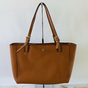 TORY BURCH York Solid Brown Leather Small Buckle Medium Tote Bag