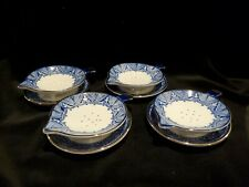 Set Of 4 Bombay Tea Strainers With Catch Dish 8 Pieces Blue White