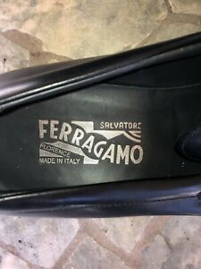 Salvatore Ferragamo Loafers Slip On 9.5 Black Leather Rubber Sole Used Damaged