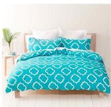 Single Size Tessa White & Aqua Blue / Turquoise Quilt / Doona Cover & Pillow Set