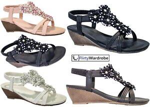 Low Wedge Sandal Floral Diamante Elastic Strap Open Toe Summer Beach Shoes Women