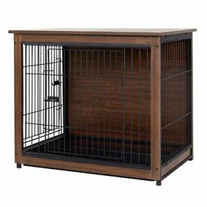 Large Wooden Dog Crate, Double Door Medium Dog Cage Indoor Table