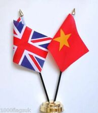 United Kingdom UK & Vietnam Double Friendship Table Flag Set