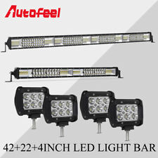 "42Inch 40"" LED Light Bar Combo + 22in + 4"" Inch Pods Spot Beam Offroad SUV Lamps"
