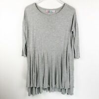 Free People FP Beach Womens Top Size XS/S Gray Oversized Tunic Shirt Jersey Knit