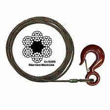 "7/16"" x 150' Fixed Eye Hoist Hook WINCH LINE Tow Wrecker Winch Cable Fiber Core"