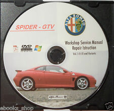 DVD MANUALE OFFICINA ALFA ROMEO SPIDER GTV 1.8-2.0-TSpark-3.0-V6-TB-24V-ZAR916