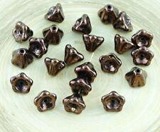 20pcs Metallic Luster Czech Glass Bell Flower Beads Caps 6mm x 8mm