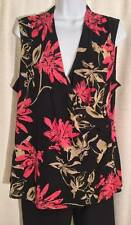 Womens 212 COLLECTION Size XL Black Pink FLORAL Nylon Waterfall Sleeveless TOP