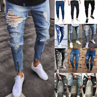 Men Casual Stretch Slim Jeans Trousers Biker Ripped Destroyed Frayed Denim Pants