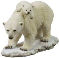 "11"" Polar Bear and Cubs Statue Wild Animal Decor Sculpture Figure White Snow"