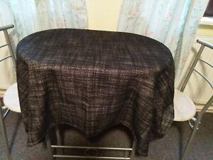 Table Cover in a Black, Cream Polyester Fabric Size 145cm x 145cm (Black Cream)