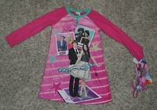NWT $28-Girls Disney HSM 2 Flannel Pink Pajamas Nightgown & Sleep Mask-size 4/6