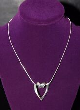 Nice Sterling Silver Designer Signed Floating Heart with Chain marked Italy 925