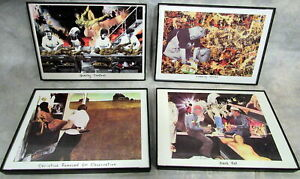 Lot of 4 BARRY KITE collages c 1992-94 framed printed 5x7 cards Singer Printing