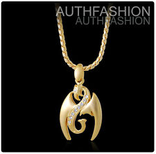 Crystal Pendant Chain Necklace Set Hiphop 18k Gold Plated Mens Double Dragons