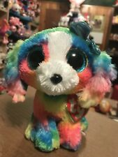 "Ty LOLA -Rainbow Tie-Dyed Puppy Dog 6"" Beanie Boo! *New Exclusive* HTF!!"