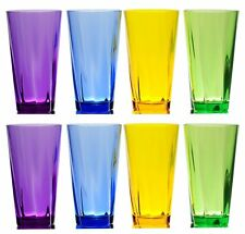 QG 8 Piece 21 oz Colorful Twist Acrylic Plastic Cup Drinking Glass Tumbler Set