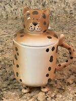 Cat Mug Footed Lid Tail Handle Brown With Spots 18 oz Coffee Tea Cup Ceramic