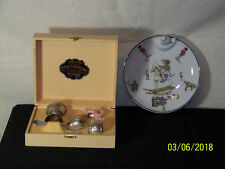 """OLD""Baby Dish Sterling Silver Rattle-Cup-Spoon Baby Set in Box Haviland HotBowl"