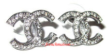 AUTHENTIC CHANEL CC Earrings Classic Silver Ruthenium Gray Crystal Stud 2017 New