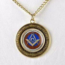 Masonic Master Mason Blue Lodge Glass Dome Cabochon Pendant Necklace w Chain #1