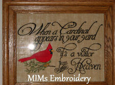 Custom Burlap Cardinal Saying Wall Picture Visitor from Heaven Christmas Gift