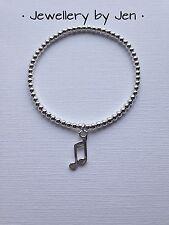 Teacher Gift Music Note Charm Silver Plated Beaded Bracelet, Stretch, Handmade