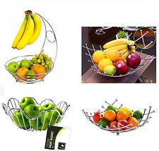 Chrome Banana Hanger Tree Holder Fruit Storage Bowl Basket Stand Hook Orange