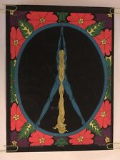 Peace Girl Vintage Blacklight Poster Woman Hair Peace Sign Abstract Pin-up 1970s