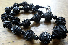 antique Victorian WHITBY JET fancy flower carved bead necklace hook clasp -C546
