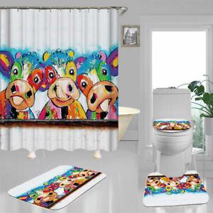 Color Art Funny Cow Shower Curtain Bath Mat Toilet Cover Rug Bathroom Decor