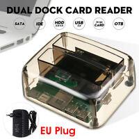 2.5/3.5'' SATA HDD Docking Station Hard Drive Dual USB Dock Card Reader EU  -.