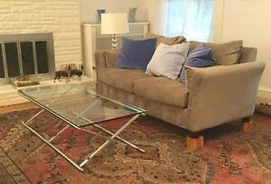 1960's Vintage Regency Campaign Mid Century X Base Chrome & Glass Coffee Table