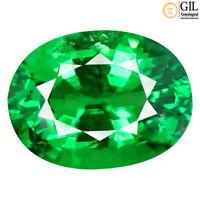 1.24 ct GIL CERTIFIED  OVAL CUT (7 X 6 MM)  GREEN TSAVORITE GARNET STONE