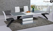 MODERN GREY AND WHITE HIGH GLOSS EXTENDING DINING TABLE WITH Z CHAIRS