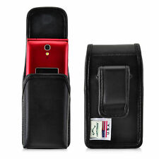 Greatcall Jitterbug Flip Black LEATHER Holster Magnetic Closure Belt C