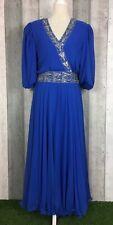 Vintage Frank Usher Royal Blue Embellished Floaty Maxi Dress Size UK 16