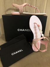 259d3aa2a0b NIB Chanel Pink Silver Tweed Thong CC Charms Slide Sandal Flip Flop - Size  36