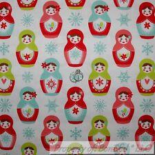BonEful Fabric FQ Cotton Quilt White Matryoshka Russian Nesting Doll Snowflake L