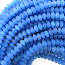 "5mm blue frost agate rondelle beads 15.5"" strand"