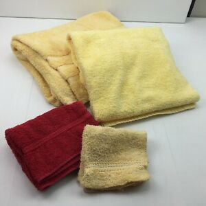 Mainstays Home Caress Bathroom Bath Hand Towel Washcloth Mickey Mouse Red Yellow